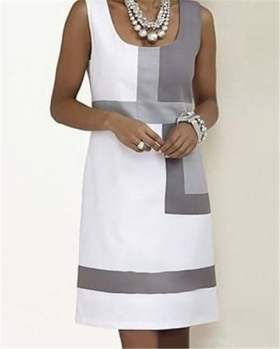 Casual Patchwork Color Summer Sleeveless Vacation Dress
