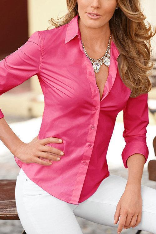 Women Lapel Collar Long Sleeves Shirts