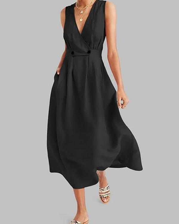 Commuting V Neck Pleated Solid Colour Button Dress