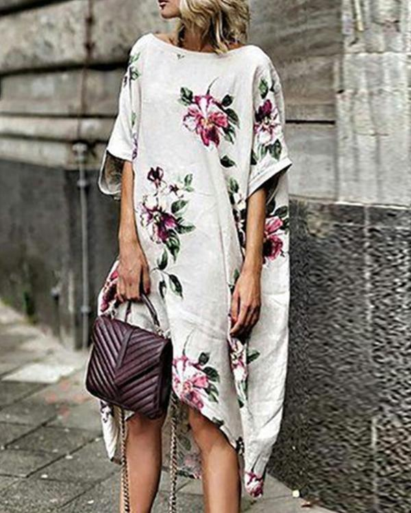 White Shift Women Half Sleeve Printed Floral Floral Dress
