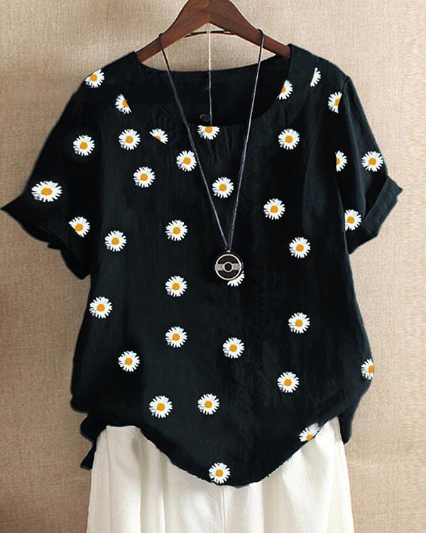 Women Casual Crew Neck Plant Shirts & Tops