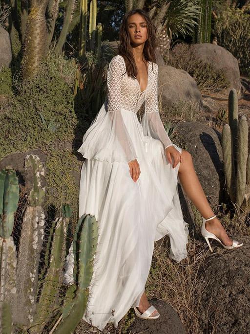 V-neck Flared Backless Maxi Dress