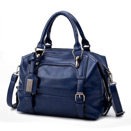 Vintage PU Leather Boston Handbag Shoulder Bag Crossbody Bag