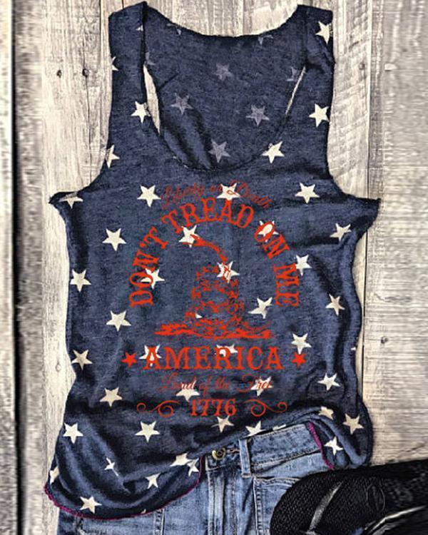 Women's Flag Letter Printed Sleeveless Vest Top T-shirt