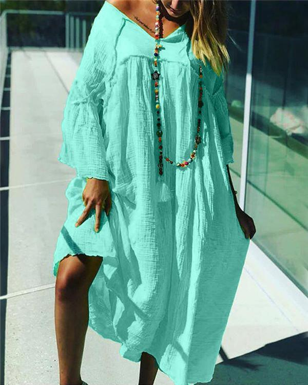 Solid Loose Summer Holiday Daily  Women Fashion Midi Dresses