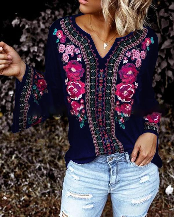 Women Floral Blouse Long Sleeve Casual Tops Ladies Tunic Flower Print Blouses Shirts