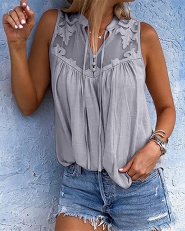 Women Chiffon Stitching Lace V-Neck Sleeveless Shirts Tops