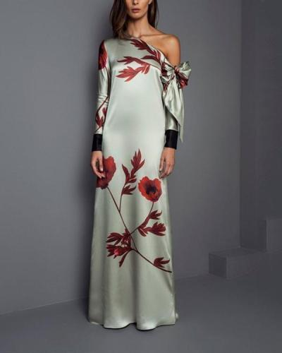 Slanted Shoulder Round Neck Long Sleeve Retro Printed Dress