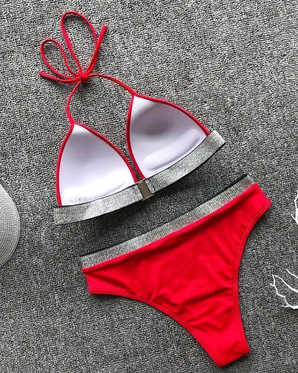 Flash Strap Bikini Sexy Hanging Neck Swimsuit