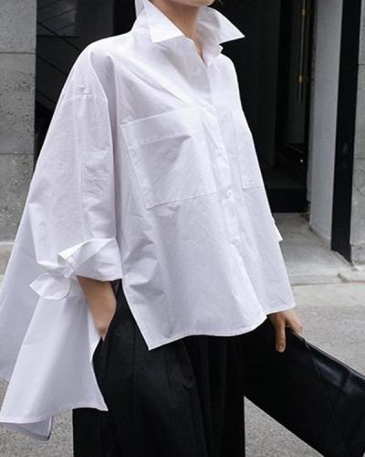 High Low Long Sleeves Pockets Casual Shirts