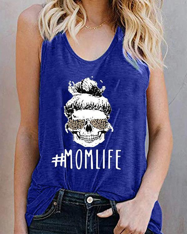 Women Printed T-shirt Mom Life Letter Tank