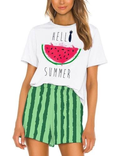 Stretchy Cute Print Short Sleeve Pajamas