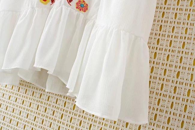Women V Neck White Shift Daily Printed Floral Chiffon Plus Size Dress