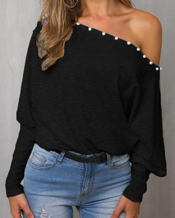 Plain Loose One-Collar Off-The-Shoulder Bat Sleeve Top Blouse