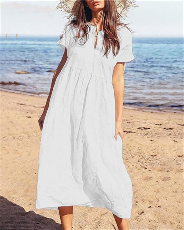 Solid Bohemian Beach Holiday Daily Fashion Maxi Dresses