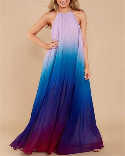Women Ombre Chiffon Gradient Halter Sleeveless Evening Maxi Dress