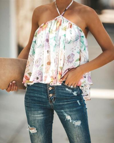 Halter V-Neck Print Chiffon Plus Size Vests Tops