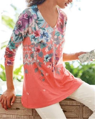 Women Flora Printed V Neck Holiday Fall Daily Casual Blouse