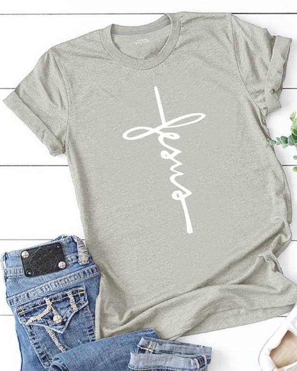 Women Plus Size Print Round Neck Short Sleeved T-Shirt