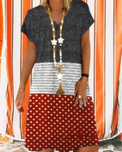 Women V-Neck Stitching Color Star Printed Short Sleeve Summer Dress
