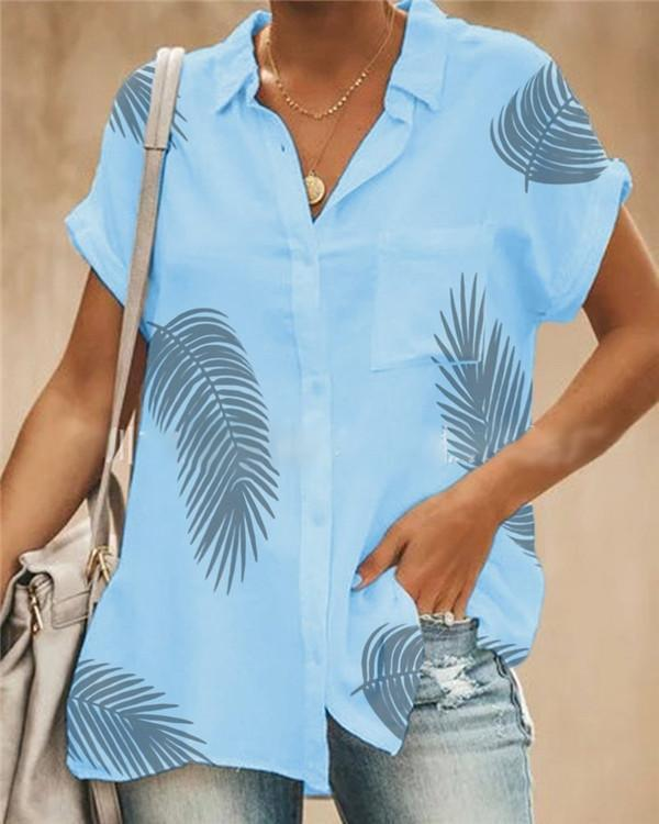 Short Sleeve  Leaves Printed Summer Women Holiday Blouse