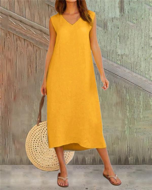 Solid Sleeveless Beach Holiday Daily Fashion Maxi Dresses