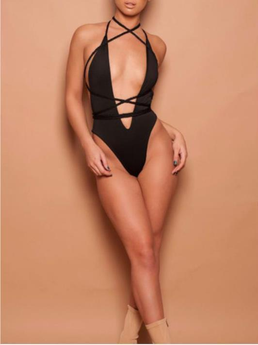 Halter Plain One Piece Swimsuit