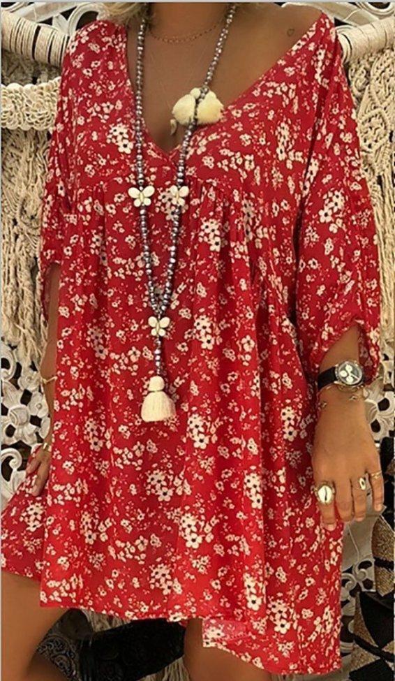 Women Long Sleeve V-neck Loose Casual Flower Shirt Dress