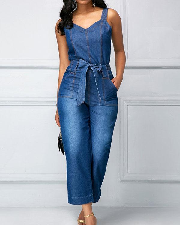 High Waist Open Back Pocket Denim Jumpsuit