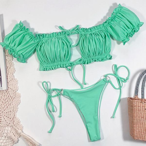 Frill Bardot Tie Side Bikini Swimsuit