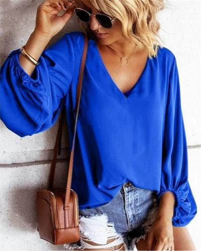 Chiffon  Sexyt Solid V Neck Women Tops Holiday Fall Daily Casual Blouse