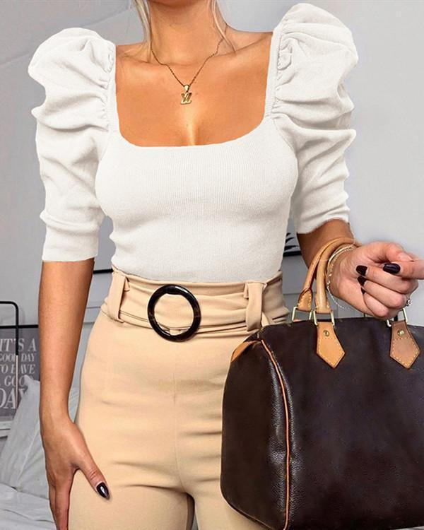 Women's Solid Square Neck Puff Sleeve Off Shoulder Blouses