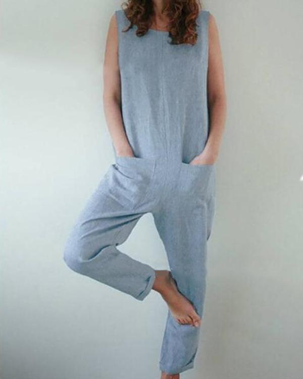 Plus Size Solid Color Pocket Jumpsuits