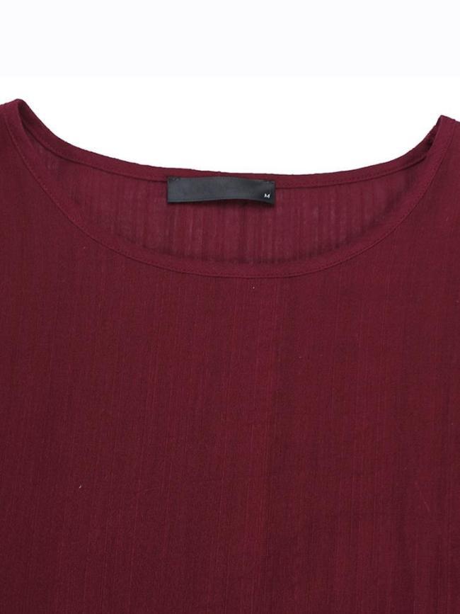 Vintage Pure Color Long Sleeve Women's Blouse