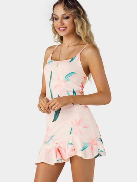Random Floral Print Scoop Neck Sleeveless Mini Dress