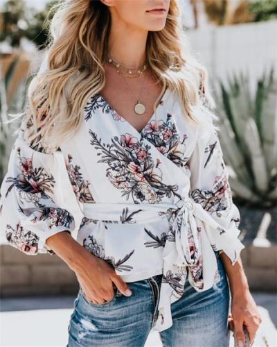 Women's Casual Floral Printed Plus Size Tops