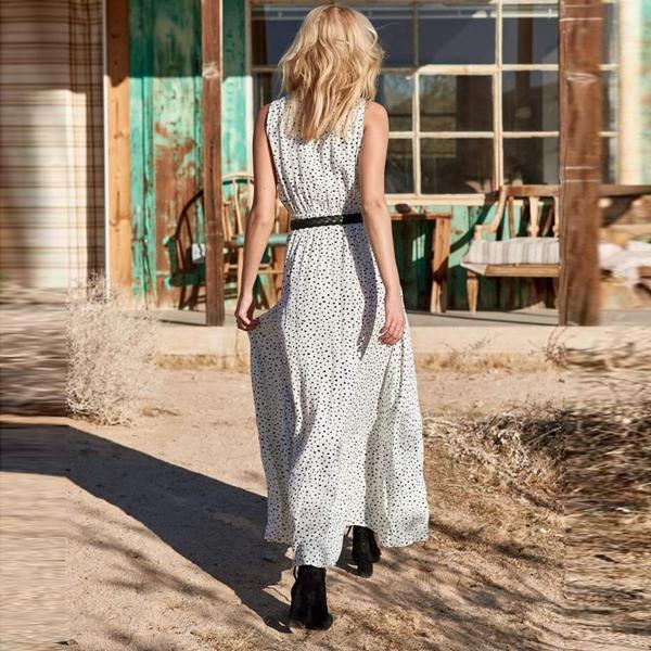 Women V Neck  Polka Dot Maxi Dress Bohemian Dress