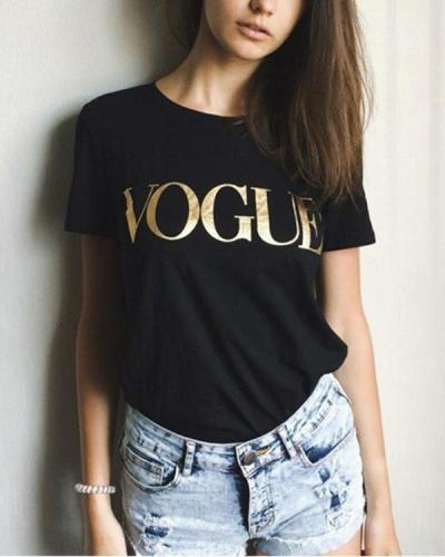 Women Casual Solid Short Sleeve Letter Plus Size Shirt Tops