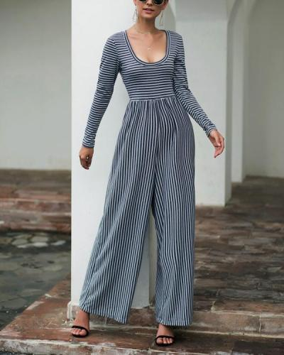 Sexy Stripe Long Sleeve Jumpsuits