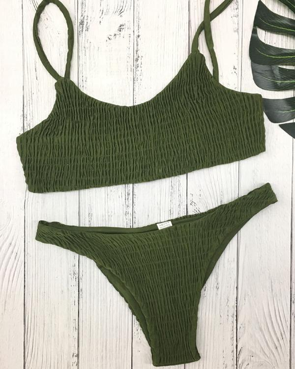 14 Color Simple Smocked Bikini Set