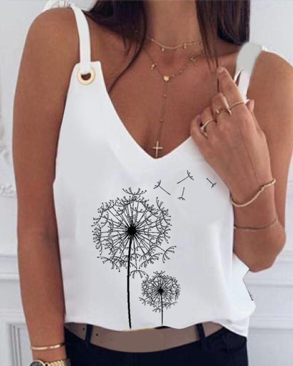 Print V-neck Eyelet Design Irregular Top Blouses