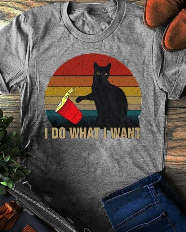 Women's Cat Print Top Women's Cotton T-Shirt