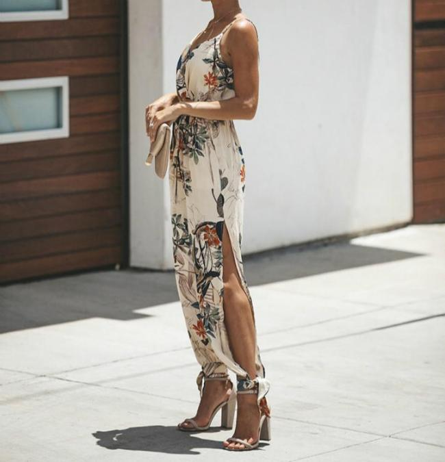 Women's Elegant Side-Slit Floral Print Jumpsuits