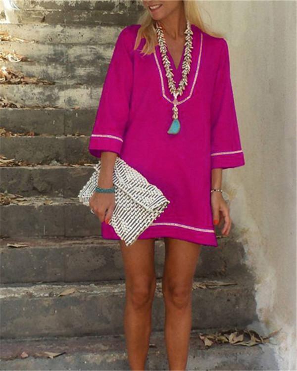 Bohemian Solid 3/4 Sleeve Casual Mini Dress