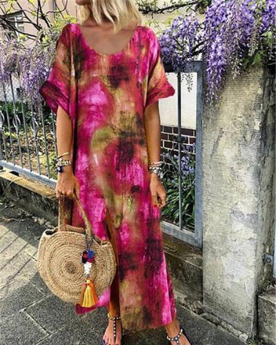 Round Neck Women Summer Shift Boho Printed Maxi Dresses