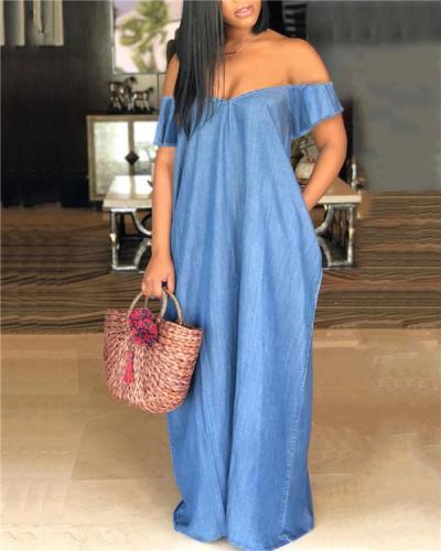 Blue Pockets Off Shoulder Backless Denim Pockets Party Maxi Dress