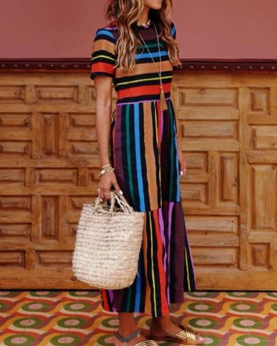 Women Crew Neck Multicolor Paneled Summer Dresses