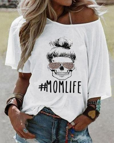 Women Printed T-shirt Mom Life Letter Tee
