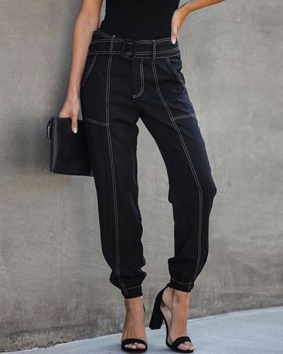 Women Black Sashes Pocket Cargo Pants Lace Up Trousers