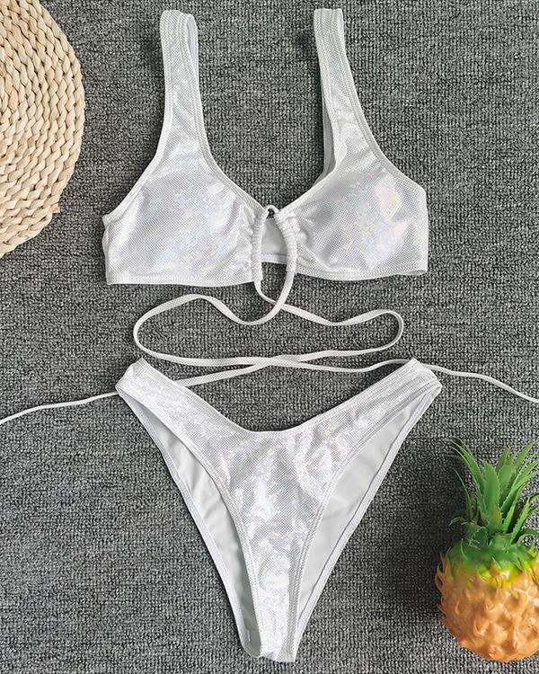 Bright Leather Split Swimsuit Sexy Strap Bikini